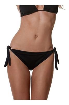 Blue Sky Swimwear Women's Black Side-Tie Ring Bottom (Bottom Only)