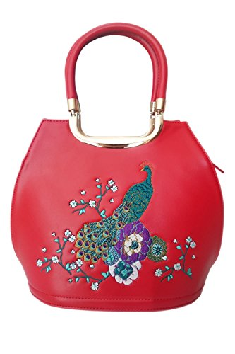 Banned Mayuree Retro Handbag Peacock Top Handle Bag - Black, Blue and Red Red