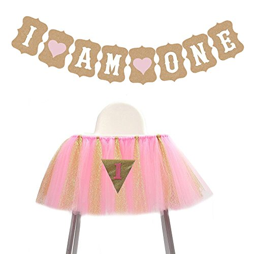 Price comparison product image Festivous Wishel 1st Birthday Tutu Skirt for High Chair Decoration for Party Supplies Pink Gold