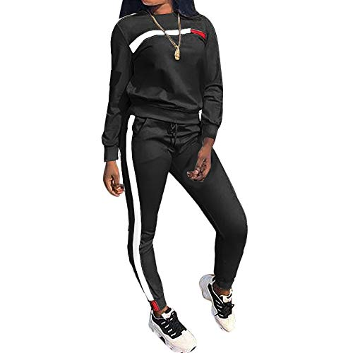 - Top-Vigor Womens 2PCS Sweatsuits Set Long Sleeve Top and Bodycon Pants Jogging Suit Tracksuit for Women Ladies Plus Size Black