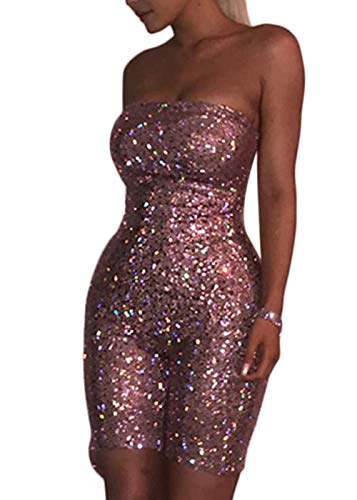 Ohvera Women's Sexy Kylie Brithday Muti Color Bling Sequined Strapless Playsuit Jumpsuit Romper Pink X-Large