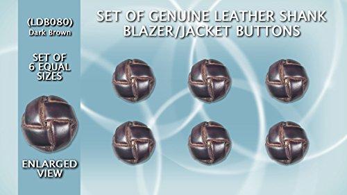 Set of 6 (One Size) Genuine High Quality Leather Shank Blazer/Jacket Buttons (Dark Brown) LDB080 (ø20.5mm in (Brown Leather Shank Button)