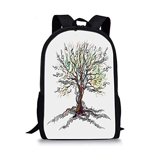 Music Decor Stylish School Bag,Musical Tree Autumn Clef Trunk Swirl Nature Illustration Leaves Creative Design for Boys,11''L x 5''W x 17''H ()