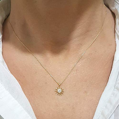 14K Gold Sun Shaped Decorated with Zirconia Stones Tiny, Dainty,Delicate and Trendy Pendant Necklace The best way to say You are my sun shine