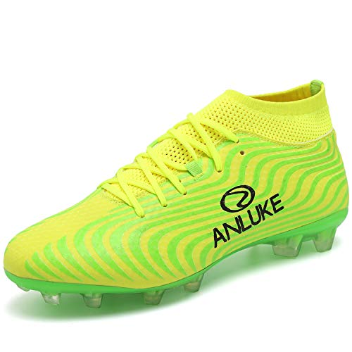 Athletic Soccer Cleats - ANLUKE Men's Athletic Hightop Cleats Soccer Shoes Football Team Turf (12 D(M) US Men, Green/Yellow)
