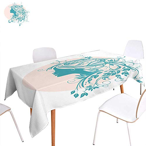 longbuyer Rectangular Polyester Tablecloth Princess Hairstyle Rectangle/Oblong W