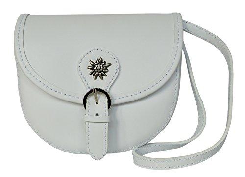 Elegante Echt Leder Trachtentasche mit Fleur des Lys oder Edelweiss fürs Dirndl - Rindsleder (Edelweiss weiß)