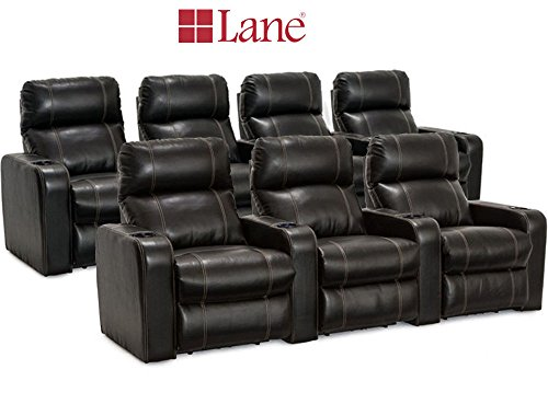 Lane Dynasty Black Bonded Leather Home Theater Seating - 1 Row of 3, 1 Row of 4 (7 Recliners) - Power Recline by Lane