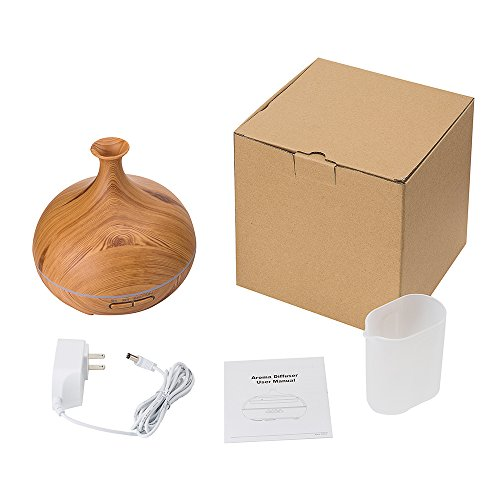 300ml Ultrasonic Cool Mist Humidifier, Aroma Essential Oil Diffuser, 3 Color Options, for Office Home Bedroom Living Room Study Yoga Spa (Wood Grain) by JUNHONG HOUSEHOLD (Image #9)