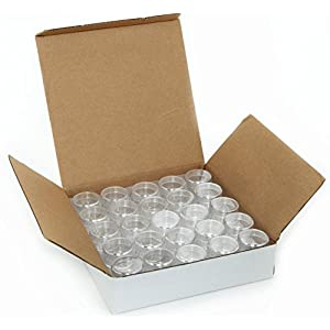 50, Clear, Empty, 5 Gram Plastic Pot Jars, Cosmetic Containers.