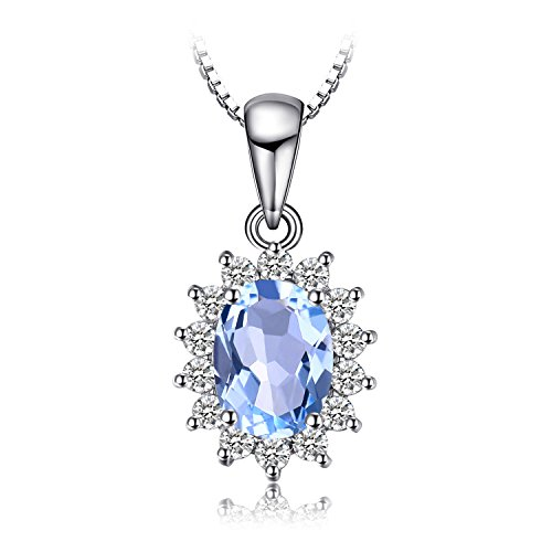 Jewelrypalace 2.3ct Gemstones Birthstone Natural Blue Topaz 925 Sterling Silver Halo Pendant Necklace For Women Princess Diana William Kate Middleton Necklace Chain Box 18 Inches