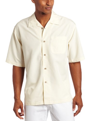 Cubavera Men's Short Sleeve Shadow Box Camp Shirt, Ivory, (Mens Shadow Box)