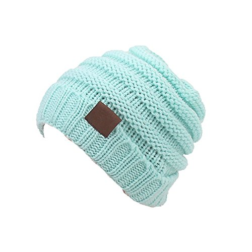 Aigemi Kids Baby Toddler Cable Ribbed Knit Children's Winter Hat Beanie Cap (Lake Blue)