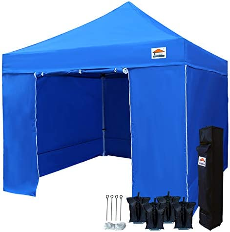 TISTENT 10 x10 Ez Pop Up Canopy Tent Commercial Instant Shelter with Heavy Duty Carrying Bag and 4 Removable Side Walls, 4 Canopy Sand Bags Blue