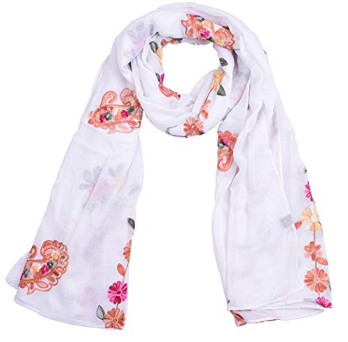 Wrap Cotton Embroidered - SUNNYTREE Women's Lightweight Scarfs Cotton Embroidered Shawl Wrap White