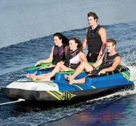 HO Sports Atomic Boat Towable 4 Person Staggered Seating Tube and Tow Rope