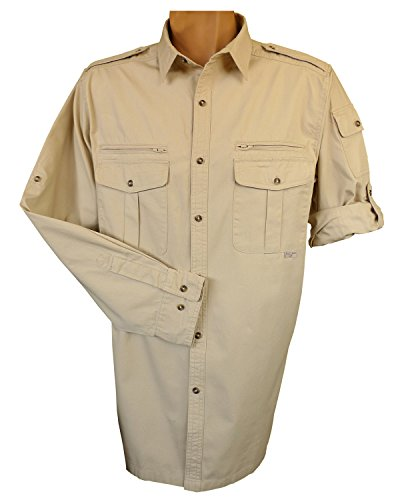Foxfire Thunder River Gear Mens Long Sleeve Cotton Travel Safari Passport Shirt