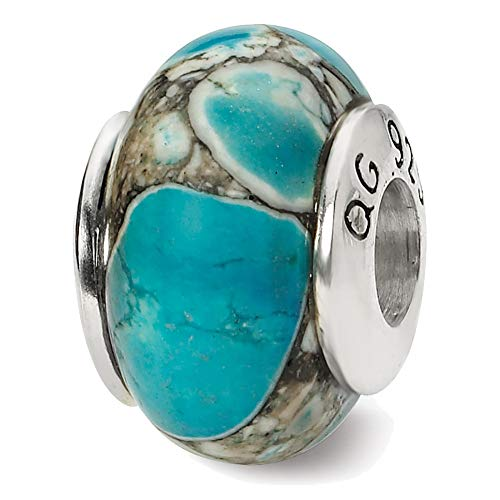 Lex & Lu Sterling Silver Reflections Blue Mosaic Magnesite Stone Bead