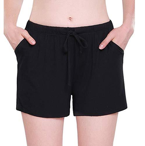 (CCatyam Plus Size Short Pants for Women, Shorts Trousers Bandage Pocket Elastic Waist Solid Casual Fashion Black)