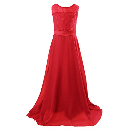 - Floor Length Dress, Acecharming Big Girls Lace Chiffon Dress Wedding Bridesmaid Dress Dance Party Gown Maxi Girl Long Dress Red Size 12(Suitable for 11-12 Years)