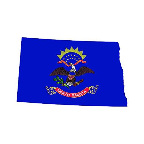 [North Dakota State Shaped Flag Sticker Self Adhesive Vinyl Decal ND] (Dakota State Flag Decal)