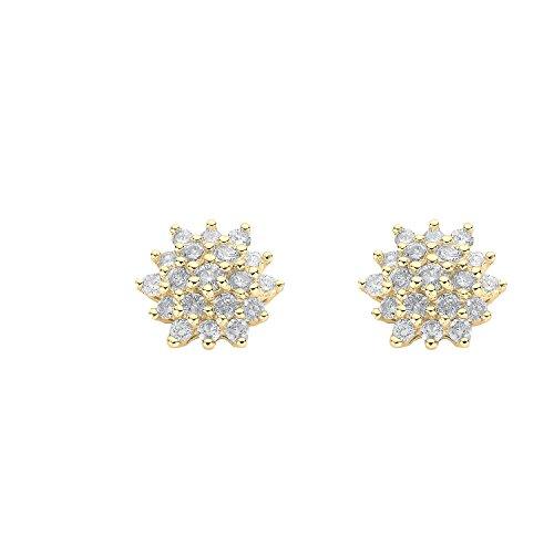 jareeya totale-0,50ct de diamants, boucles d'oreilles clous en or jaune 9carats