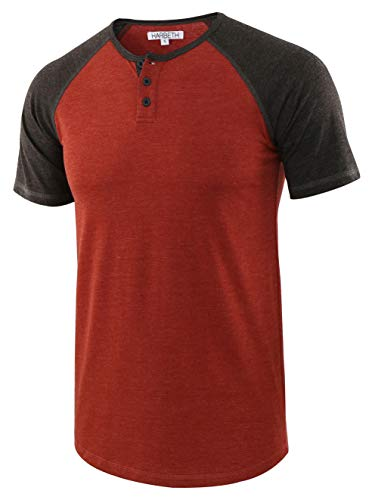 HARBETH Men's Casual Short Sleeve Henley Shirt Raglan Fit Baseball T-Shirts Tee H.Rusty/H.Charcoal L