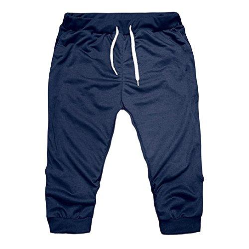 (Respctful Summer Men Sport Jogging 3/4 Short Pant Fit Elastic Casual Sportswear Slim Trouser (Navy,)