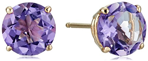 Gold Round Birthstone Stud Earrings