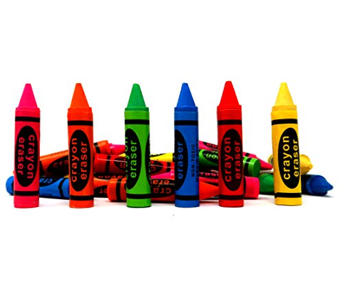 Bulk Pack of Crayon Erasers, Neon Colors Great Kids Party Favor For Birthday Parties, Goody Bag Filler For Classroom Prizes Pack of 36, By 4E's Novelty