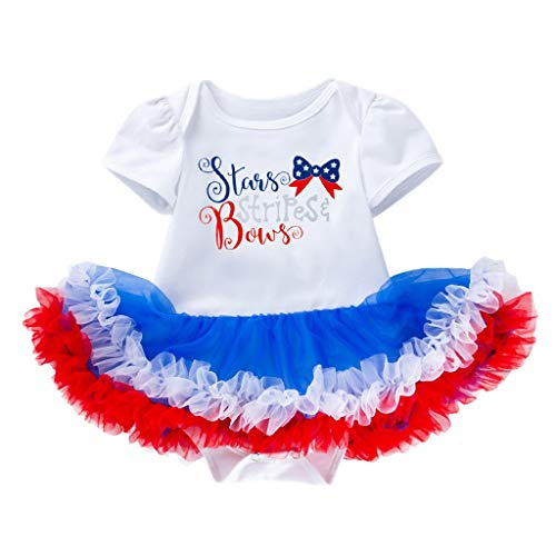 - perfectCOCO Toddler Baby Short Sleeve Stars Dress+Headbands Set Outfit 4th of July Tutu Dress Romper Party Bodysuit White