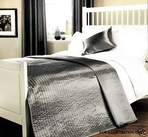 Coopers Fine Furnishings Quilted Silk Effect Bedspread In Silver ... : quilted silk bedspread - Adamdwight.com
