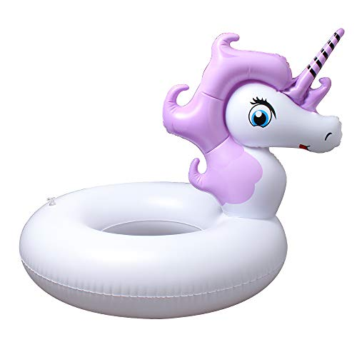 Pool Floats for Kids,Unicorn Pool Float with with Rapid Valves Inflatable Floaties Tube Swim Ring Durable Water Float Summer Beach Outdoor Swimming Pool Party Decorations Toys for Children Toddlers