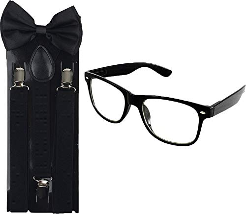 Ideas For Nerd Halloween Costumes (Enimay Suspender Bowtie Nerd Clear Glasses Nerd Costume Halloween (Black)