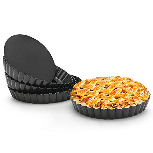 Quiche Pan, Beasea 4pcs 6 Inch Non Stick Tart Pan Removable Bottom Mini Tart Pans Round Pie Pan - Fat Daddios Fluted Tart