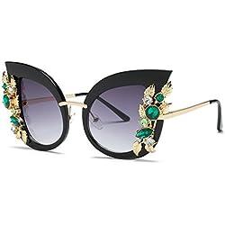 Voberry Fashion Diamond Cat Ear Sunglasses for Women丨Vintage Style丨Classic Metal Frame丨Sun Protection (C)