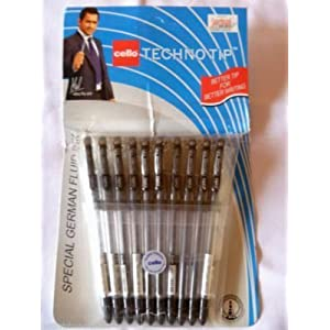 1 X 10 Cello Technotip PEN Top Ball Point 0.6 mm Smooth Writing Black Brand Ad By Indian Cricketer Mahindera Singh Dhoni Lot of 10 Pens