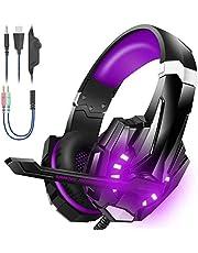 BENGOO Stereo Gaming Headset voor PS4, PC, Xbox One Controller, ruisonderdrukking Over Ear Hoofdtelefoon met microfoon, LED-licht, Bass Surround,