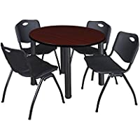 Kee 42 Round Breakroom Table- Mahogany/ Black & 4 M Stack Chairs- Black