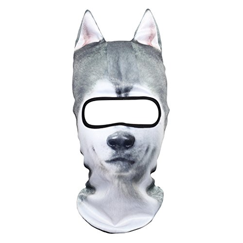 (JIUSY 3D Animal Ears Balaclava Windproof Face Mask Cover Protection for Music Festivals Raves Halloween Party Riding Skiing Snowboarding Snowmobile Winter Cold Weather Activities Husky Dog)
