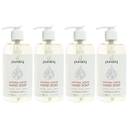 Puracy Natural Liquid Hand Soap, Sulfate-Free Gel Hand Wash, Lavender & Vanilla, 12 Ounce (4-Pack)