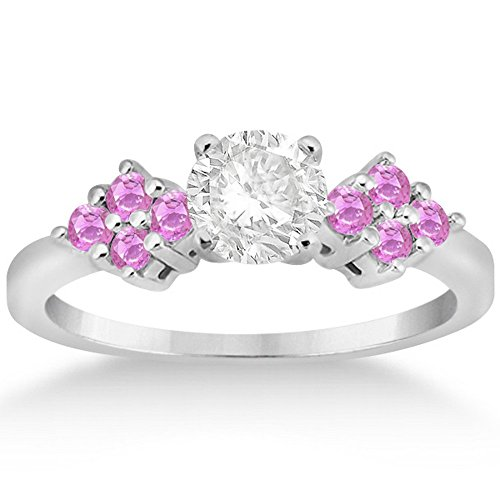 (Pink Sapphire Floral Cluster Engagement Ring with Side Accents 18k White Gold Prong Set(0.35 ct))