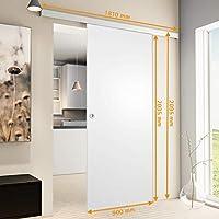 Inova Madera de puerta corredera, 900 x 2035 mm habitaciones Juego completo de color blanco de puerta aluminio Carril de vollspan Madera de Juego, incluye cerradura de puerta, Griffmuschel + Softclose: Amazon.es: Hogar