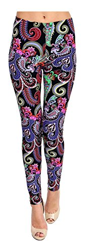 (PLUS SIZE Printed Leggings (World of Paisley), One Size)