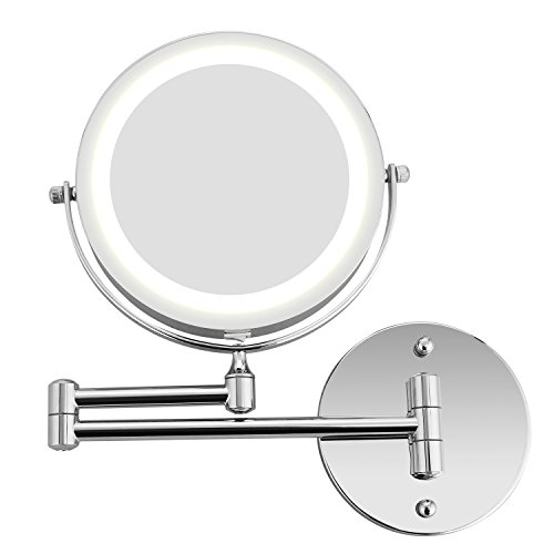 - Bazal Makeup Mirror Wall Mount 5x Magnifying Mirror LED Lighted Cosmetic Vanity Mirror for Bathroom Two Sided Face Mirror, Powered by 4 x AAA Batteries (not included)