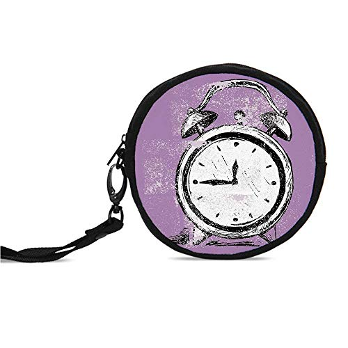 Doodle Durable Round Coin Purse,Retro Alarm Clock Figure with Grunge Effects Cl ()