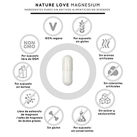 Magnesio - 2250 mg citrato de magnesio, de ello 360 mg magnesio elemental por dosis diaria. 180 cápsulas. Controlado en el laboratorio.