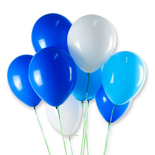 FONBALLOON PARTY Balloons 3 Color-White,Blue,Light Blue,12 Inch 100 Pcs,Thicken Round Balloons with Strong Latex for Birthday Party Decorations Supplies