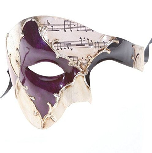 [Men'S Phantom Of The Opera Half Face Masquerade Mask Purple And Silver Musical] (Rock And Roll Costumes Diy)