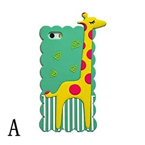 Lovely giraffe Silicon Soft Case for iPhone 5/5S (Assorted Colors) , A